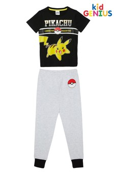 Kid Genius Black and Grey Pikachu Pokemon Pyjama Set
