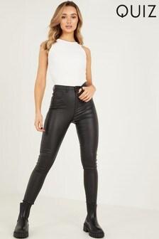 Quiz Black High Waist PU Tapered Leg Jeans