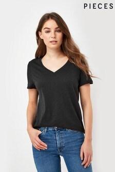Pieces Black V neck T-shirt