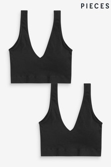 Pieces Black Ribbed Seamless Bra 2 Pack
