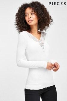 Pieces White V Neck Lace Trim Long Sleeve Top