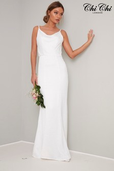 Chi Chi London White Bridal Satin Dress