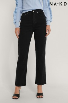 NA-KD Black Organic Straight High Waist Jeans