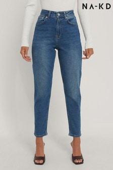 NA-KD Mid Blue Organic Mom Jeans