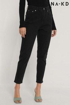 NA-KD Black Organic Mom Jeans