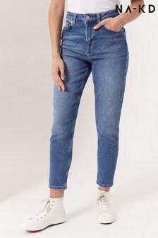 NA-KD Dark Blue Organic Mom Jeans
