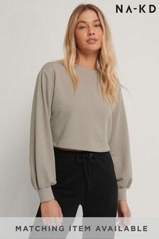 NA-KD Grey Volume Sleeve Crop Sweatshirt