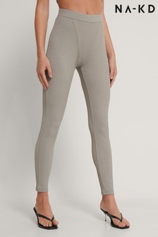 NA-KD Grey Seamless Ribbed Leggings