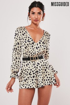 Missguided Champagne Dalmatian Plunge Playsuit