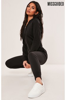 Missguided Black Hooded All-In-One Jumpsuit