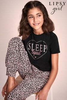 Lipsy Black Sleep Squad Short Sleeve Long Leg Pyjama Set