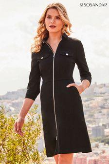Sosandar Black Zip Front Denim Dress With Pockets