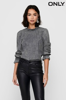 Only Black Washed Denim Puff Sleeve Top