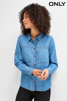Only Blue Denim Shirt With Pocket Details