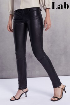 Lab Leather Black Skinny Trousers