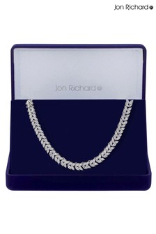 Jon Richard Silver Rhodium Plated Cubic Zirconia Leaf Necklace - Gift Boxed