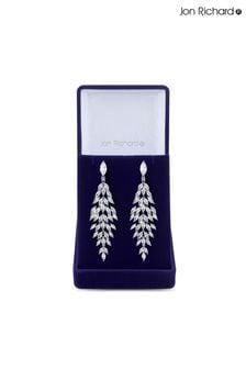 Jon Richard Rhodium Plated Cubic Zirconia Statement Crystal Navette Drop Earrings - Gift Boxed