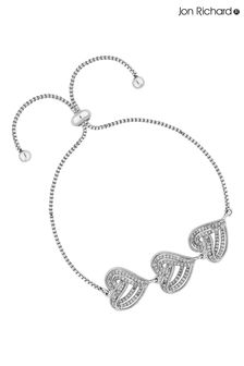 Jon Richard Silver Rhodium Plated Clear Cubic Zirconia Heart Toggle Bracelet- Gift Boxed
