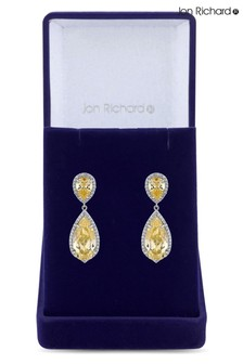 Jon Richard Silver Rhodium Plated Yellow Cubic Zirconia Peardrop Earrings - Gift Boxed