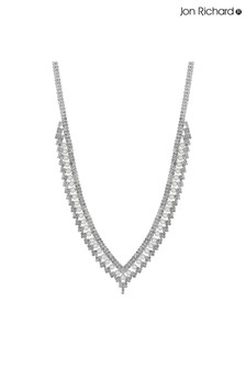 Jon Richard Silver Plated Pearl And Crystal V Shape Necklace