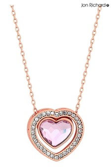 Jon Richard Rose Gold Plated Pink Dancing Heart Pendant Made with Swarovski Crystals Necklace