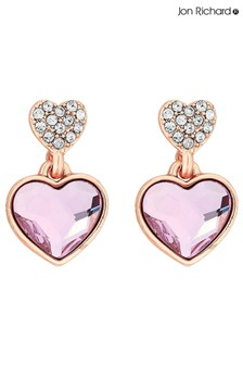 Jon Richard Rose Gold Plated Pink Dancing Heart Made with Swarovski Crystals Drop Earrings