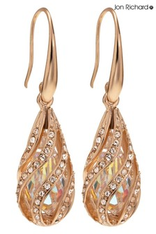 Jon Richard Rose Gold Plated Cage Made With Swarovski Crystals Earrings