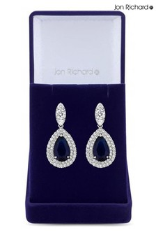 Jon Richard Rhodium Plated Cubic Zirconia Baguette Navette Sapphire Blue Pear Drop Earrings - Gift Boxed