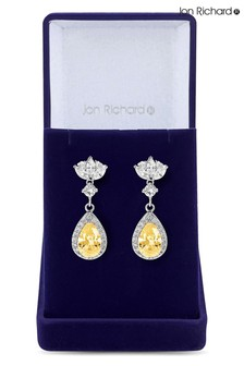 Jon Richard Rhodium Plated Cubic Zirconia Yellow Peardrop Earrings - Gift Boxed