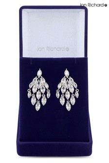 Jon Richard Rhodium Plated Cubic Zirconia Crystal Navette Drop Earrings - Gift Boxed