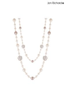 Jon Richard Rose Gold Plated Pink And Cream Crystal Pave and Pearl Rope Necklace