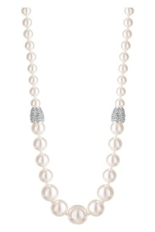 Jon Richard Silver Plated Pave Crystal And Cream Pearl Graduated Necklace