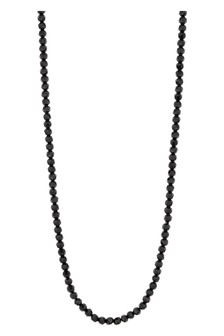 Jon Richard Silver Plated Black Beaded Long Necklace