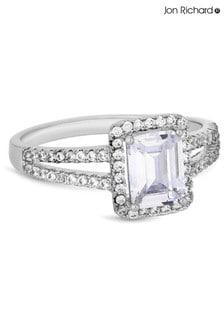 Jon Richard Silver Rhodium Plated Crystal Pave Megan Sized Ring