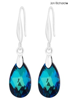 Jon Richard Silver Plated Blue Fish Hook Drop Earrings