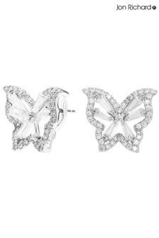 Jon Richard Silver Plated Cubic Zirconia Butterfly Stud Earrings