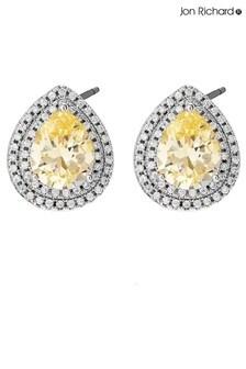 Jon Richard Silver Plated Cubic Zirconia Yellow Pear Stud Earrings
