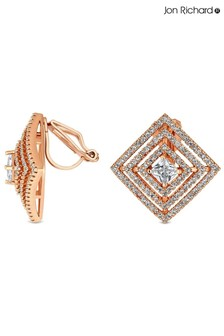 Jon Richard Rose Gold Plated Cubic Zirconia Square Clip Earrings