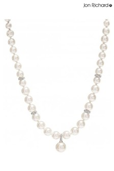 Jon Richard Rose Gold Plated Pave And Pearl Drop Necklace
