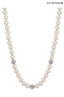 Jon Richard Silver Plated Cream Pearl Necklace With Pave Balls
