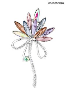 Jon Richard Silver Plated Pink Crystal Navette Decorative Brooch
