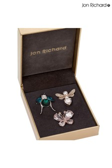 Jon Richard Silver Bug Multi Brooches Pack of 3 - Gift Boxed