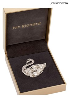 Jon Richard Silver Crystal Swan Brooch Made with Swarovski Crystals - Gift Boxed