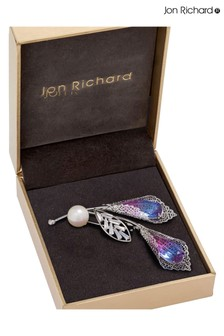 Jon Richard Silver Plated Ombre Pink Twin Flower Brooch - Gift Boxed