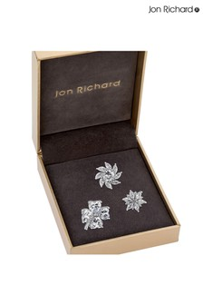 Jon Richard Silver Plated Cubic Zirconia Floral Brooch Multipack - Pack Of 3 - Gift Boxed