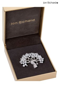 Jon Richard Rhodium Plated Cubic Zirconia Tree Of Life Brooch - Gift Boxed
