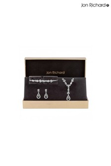 Jon Richard Silver Plated Clear Crystal Floral Trio Set - Gift Boxed