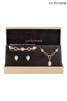 Jon Richard Gold Plated Pave Pear Trio Set - Gift Boxed