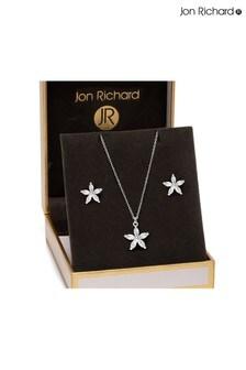 Jon Richard Silver Rhodium Plated Cubic Zirconia Flower Set - Gift Boxed