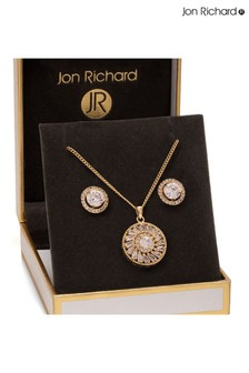 Jon Richard Gold Plated Round Baguette Cubic Zirconia Set - Gift Boxed